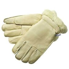 Laurentide Men Winter Cowhide Leather Wrist Work/Driv Glove Pile-Lined Cream L