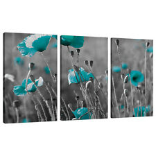 Set of 3 Teal Blue Green Large Canvases Wall Art Prints Pictures 3139
