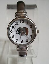 Silver finish designer fashion Elephant/White dial women's cuff bangle watch