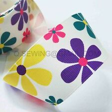 "1.5"" Multi Hot Cute Flower grosgrain ribbon DIY Cute hairbows crafts 2 yds YA545"