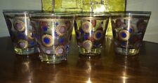4 MIDCENTURY SIGNED  GEORGE BRIARD COCKTAIL GLASSES PINK / BLUE / GOLD