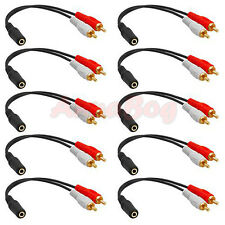 10x 3.5mm 1/8 Stereo Female Mini Jack to 2 Male RCA Plug Adapter Audio Y Cable