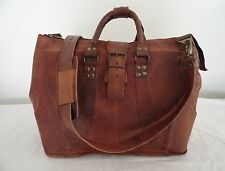 "17"" Real Brown Leather Padded Laptop Macbook Bag Aircabin Luggage Weekend Bag"