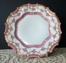 """Tressemanes & Vogt T&V Limoges 498  9 3/4"""" Dinner Plate Pink Gold Ornate France"""