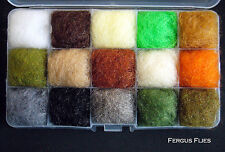 One Antron Dubbing Dispenser Box Fly Tying - Top Fifteen Colors.  Worldwide!