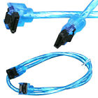 """24"""" SATA 3 III 6 Gb/s SSD HDD Data Round Cable Straight to Right Angle UV Blue"""
