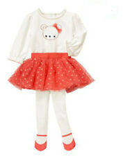 NWT Gymboree BEAR-Y NEW Girl Size 18-24 M 2-Piece Bodysuit & Coral Tutu Tights