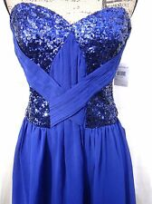 Short Mini Blue Prom Cocktail Dress Fit Flare Size Large Strapless Sequins NWT
