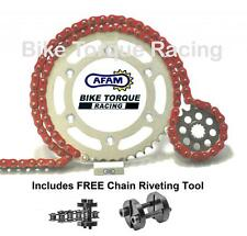 Kawasaki W650 A1-C7 C6F 99-06 AFAM Red Chain & Sprocket Kit + Rivet Tool