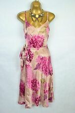 MONSOON 100% Silk pink floral belted dress UK 10
