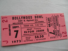 ELTON JOHN Original Unused 1973 CONCERT TICKET - Hollywood Bowl, CA