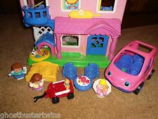 FISHER PRICE LITTLE PEOPLE BUSY DAY FAMILY SOUNDS DOLLHOUSE HOUSE FIRST HOME LOT