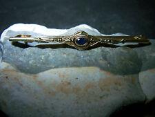 elegante Jugendstil Krawattennadel 585er Gold blauer Saphir kornblumenblau
