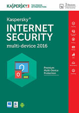 KASPERSKY INTERNET SECURITY 2016 3PC/1YEAR | MULTIDEVICE | ANTIVIRUS | NO CD |