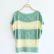 Knitted poncho Jumper, Green & Cream, size 12 UK. candy stripes, striped, loose
