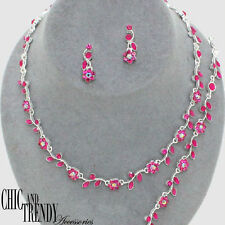 "PETITE FLOWER ""3 PC"" PROM FORMAL WEDDING NECKLACE JEWELRY SET CHIC AND TRENDY"