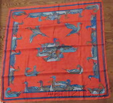 80s vtg HERMES SILK SCARF La Mare aux Canards red cloisonne ducks signed 34""