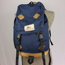 Kelty Vintage Blue Canvas Leather Bottom Open Top Day Pack Backpack Made USA