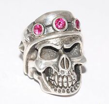 Sterling Silver Gladiator Skull Ring With Red Gem Stones Gothic / Biker Style