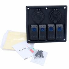 12V  4 gang rocker switch panel with Double USB Waterproof