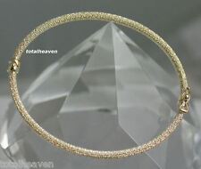 ITALIAN Beauty Solid 14K Yellow Gold Bangle Bracelet 3.6g MESH Sparkly oval