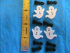 LOT OF 9 HALLOWEEN GHOSTS & BOO FLATBACK~2-hole BUTTONS sew~scrapbook~crafts