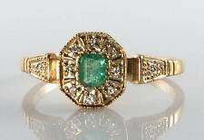 CLASS  9CT GOLD EMERALD DIAMOND ART DECO INS  RING FREE RESIZE