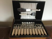 BLACK FAUX CASED SET OF 12 STAINLESS FISH KNIVES & FORKS & SERVERS (FK & S2)