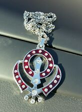 Silver Plated Punjabi Singh Sikh Red Khanda Pendant Car Rear Mirror Hanging Gift