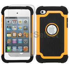 Hybrid Rugged Rubber Matte Case+Screen Guard for Apple iPod Touch 4 4th Orange