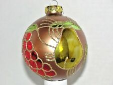"VTG Christmas Ornament Glass Ball Pear & Grapes Leaves Glitter Beauty 3"" A x 4""H"