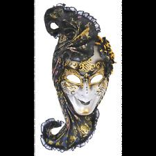 Black Headpiece Venetian Mask Masquerade Ball Adult Halloween Costume Mardi Gras