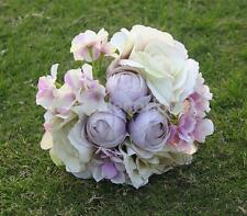 Artificial Silk Rose Hydrangea Bridal Bridesmaid Bouquet Wedding Party Decor