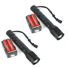 2 Sets 6000Lumen Tactical T6 LED Flashlight Torch Zoomable 18650 Battery+Charger