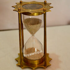 GIFT ITEM BRASS SAND TIMER HOURGLASS WITH ANTIQUE MARITIME COLLECTIBLE DECOR
