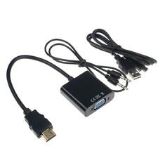 1080P HDMI Male to VGA Audio Video Converter Adapter Cable for PC Laptop LCD A