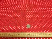 Polycotton Fabric * SPOTTED POLKA DOT * RED with TINY 4mm WHITE SPOTS