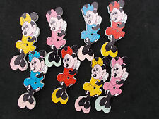 10 WOOD SEWING BUTTON. MINNIE MOUSE SHAPED RANDOM MIXED CRAFTS/SCRAP BOOKING
