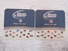 "Beer Bar COASTER: BUDWEISER Bud Light NFL Official Football Sponsor ""Here We Go"""