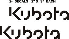 "2- KUBOTA TRACTOR Vinyl Decals Stickers -O-  BLACK 2 "" X 9"" EACH"