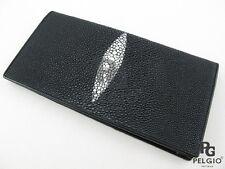 PELGIO Real Genuine Stingray Skin Leather Men's Checkbooks Long Wallet Black