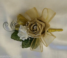 Chardonnay Luxury Pin On Wedding Corsage Coffee/Ivory Roses Gold Pearls