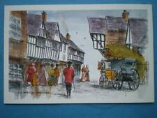 POSTCARD WORCESTERSHIRE WORCESTER - OLD FRIAR STREET  WATERCOLOUR