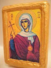 Rare Greek Eastern Orthodox Saint Anastasia Pharmakolytria Icon on Real Wood