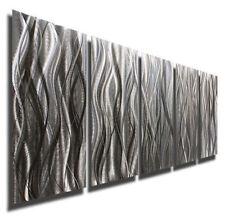 Silver Metal Abstract Wall Art Decor Sculpture - Platinum Reeds by Jon Allen
