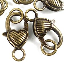 27x13mm Large Antique Bronze Pewter Striped Heart Lobster Claw Clasps (5) ~ Lead
