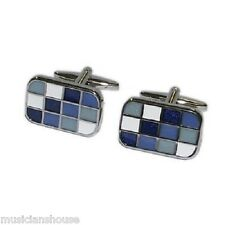 Blue Silver & White Check Cufflinks Cruise Party Wedding Formal Present Gift Box