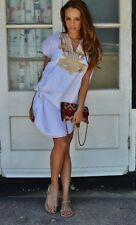 NEW BEACH KAFTAN FASHION DRESS COVER UP WHITE GOLD RESORT ABAYA SHORT CAFTAN