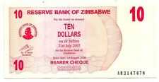 Zimbabwe 10 dollars 2006 bearer cheque   FDS  UNC    pick 39    lotto 3638