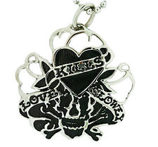 Ed Hardy Love Kills Slowly Mesh Pendant Necklace in Stainless Steel